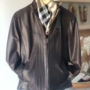 Gallery brown leather jacket